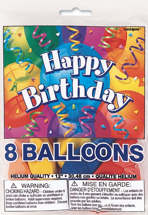 Happy Birthday - 12 inch - Assorted Pack of 8
